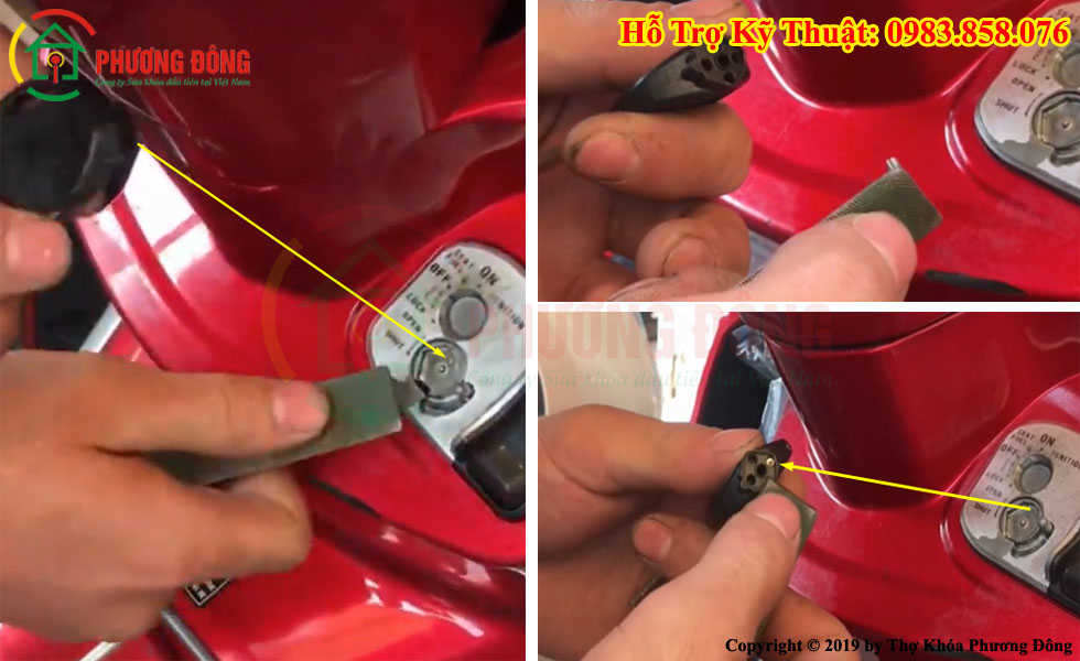 cách mở nắp khóa từ xe máy