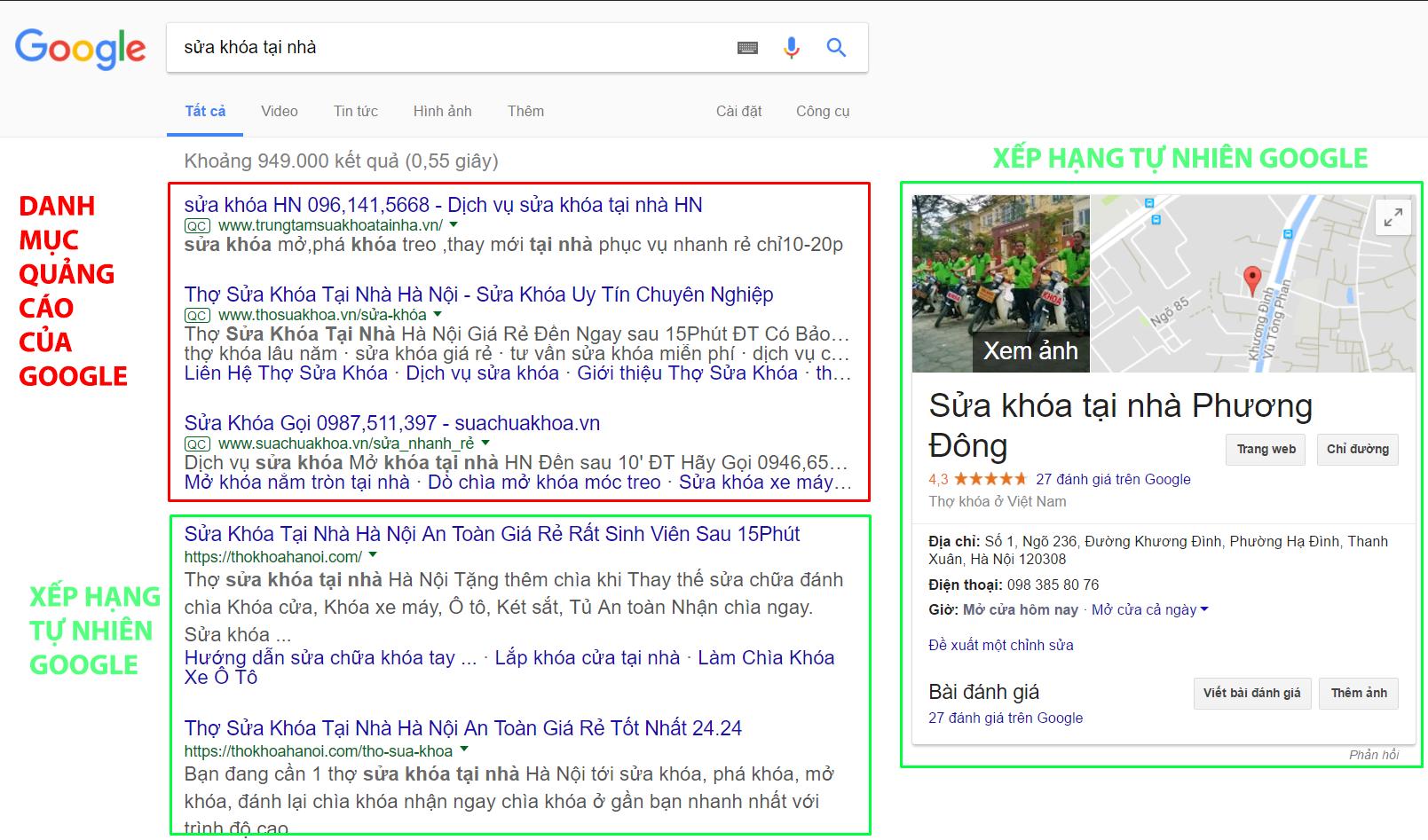 Trang website sửa khóa két sắt được Google đánh giá thứ hạng cao