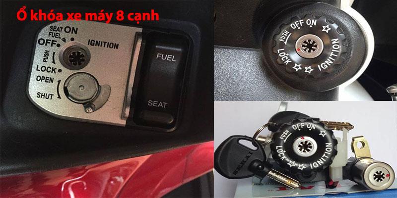 Ổ khóa xe máy chìa 8 cạnh