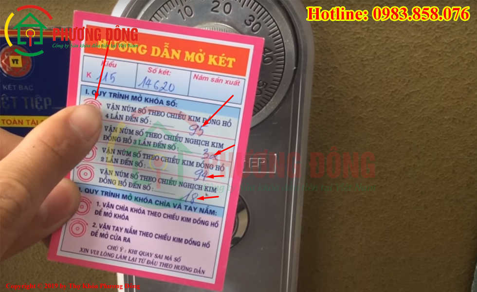Hướng dẫn cách đọc mã số két sắt Việt Nhật