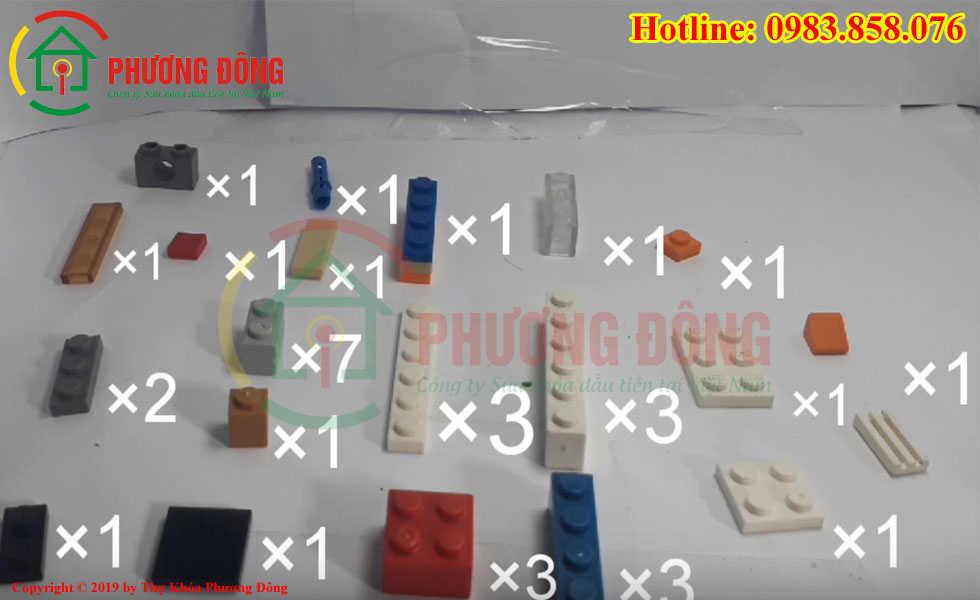 Các chi tiết để xếp được một két sắt mini bằng lego