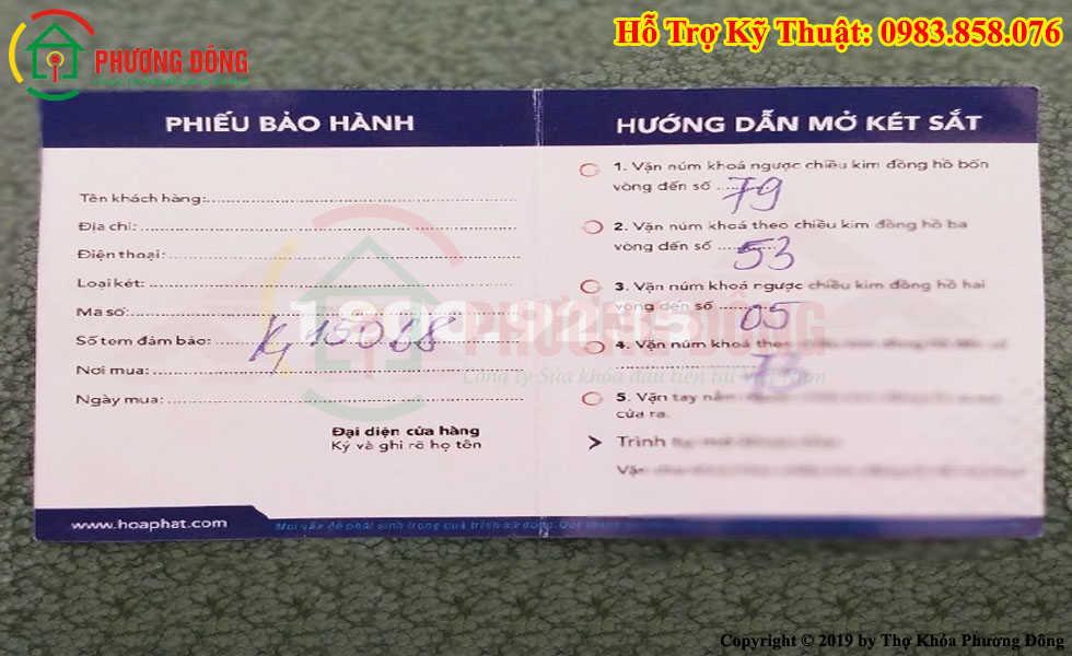 Phiếu bảo hành két sắt Hòa Phát