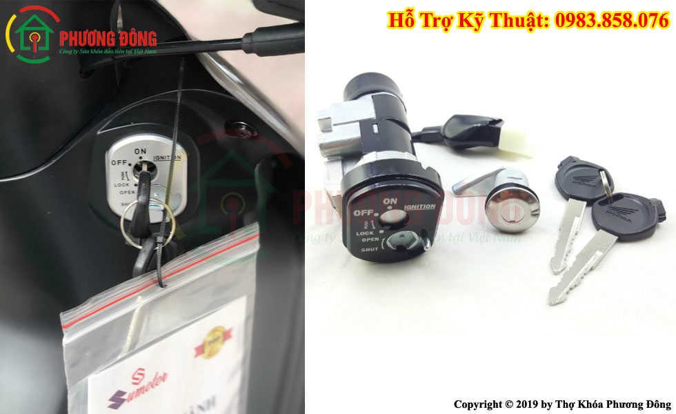 Thay ổ khóa xe máy 2 cạnh răng cưa khóa nắp từ