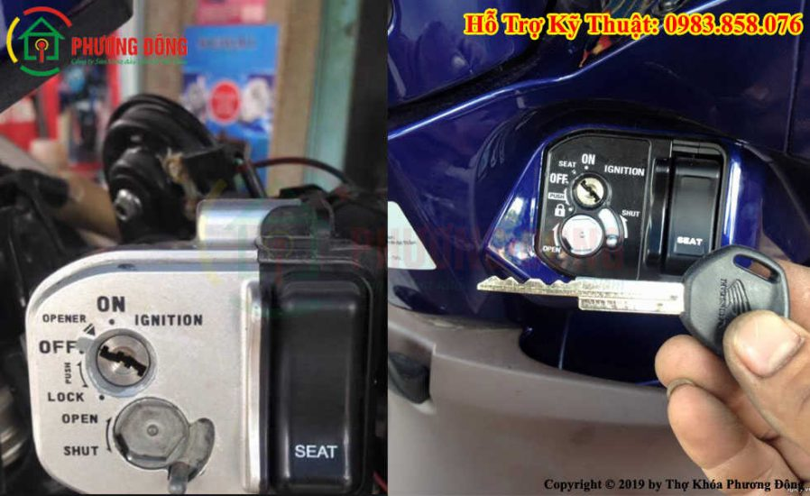 Thay ổ khóa xe máy chống trộm chống đoản phá khóa