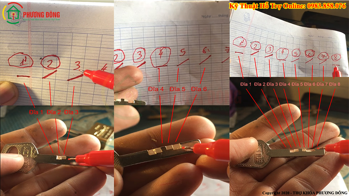 Đánh chìa dựa trên dấu đã đánh trên giấy